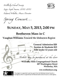 Beethoven: Mass in C; Vaughan Williams: Toward the Unknown Region