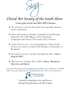 Open Rehearsal-Choral Art Society of the South Shore