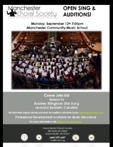 Manchester Choral Society Open Sing