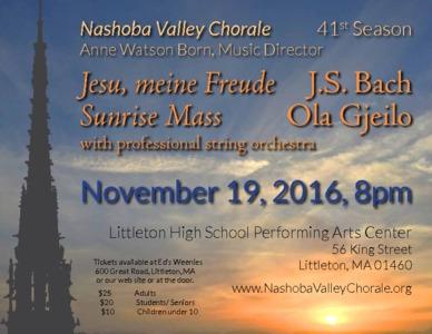 J.S. Bach: <i>Jesu, Meine Freude</i>; Ola Gjeilo: <i>Sunrise Mass</i>.