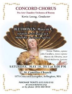 Haydn: Salve Regina; Beethoven: Mass in C; Mozart Veni Sancte Spiritus