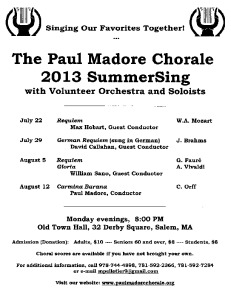 Paul Madore Chorale SummerSing Series