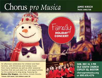 Family Holiday Concert with Boston City Singers.