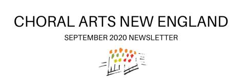 Choral Arts New England September 2020 header